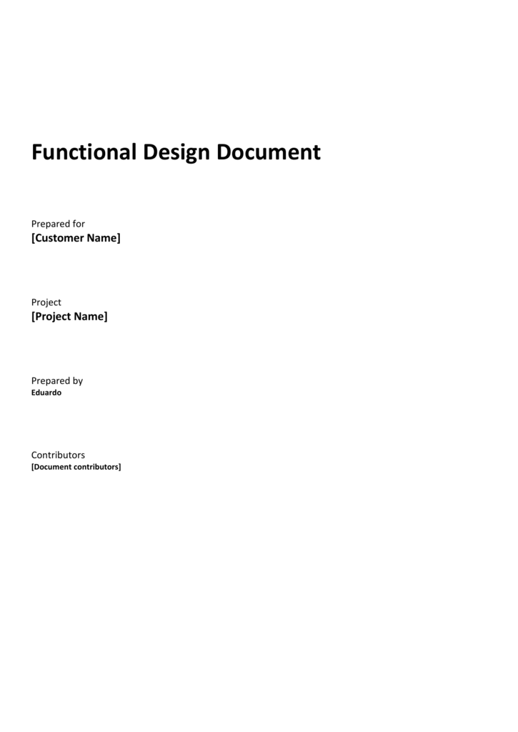 12 Functional Design Document Template
