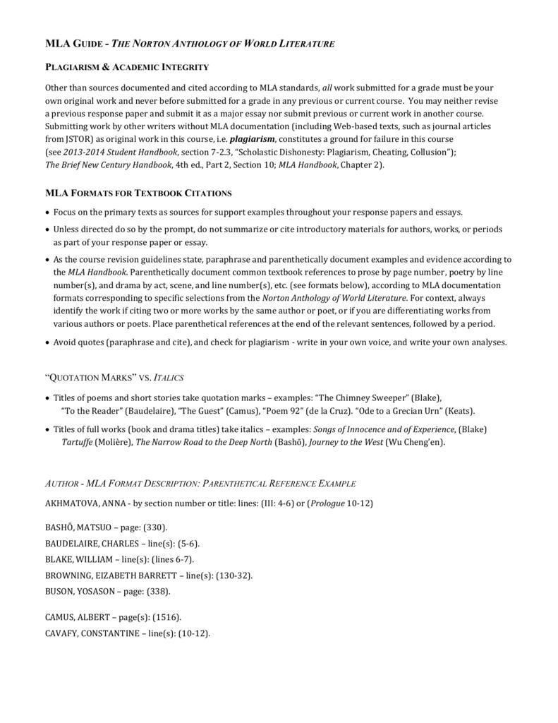 mla format response essay