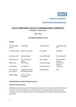 south derbyshire locality commissioning committee