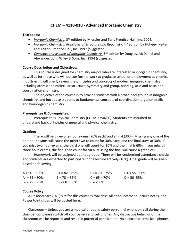 CHEM – 4110-010 - Advanced Inorganic Chemistry