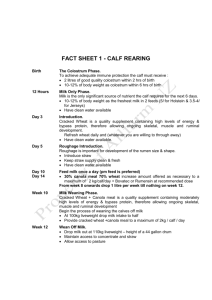 Fact Sheet 1 – Calf Rearing
