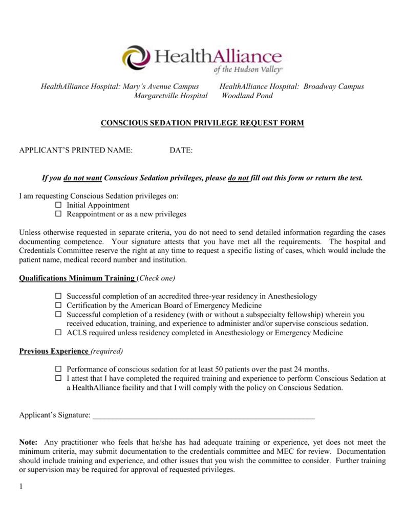 Conscious Sedation Privilege Request Form