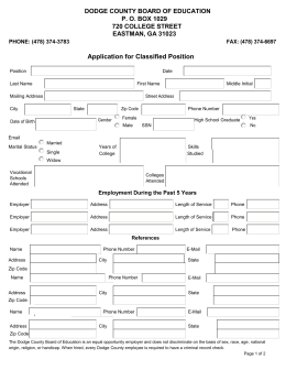 Application for Classified Position