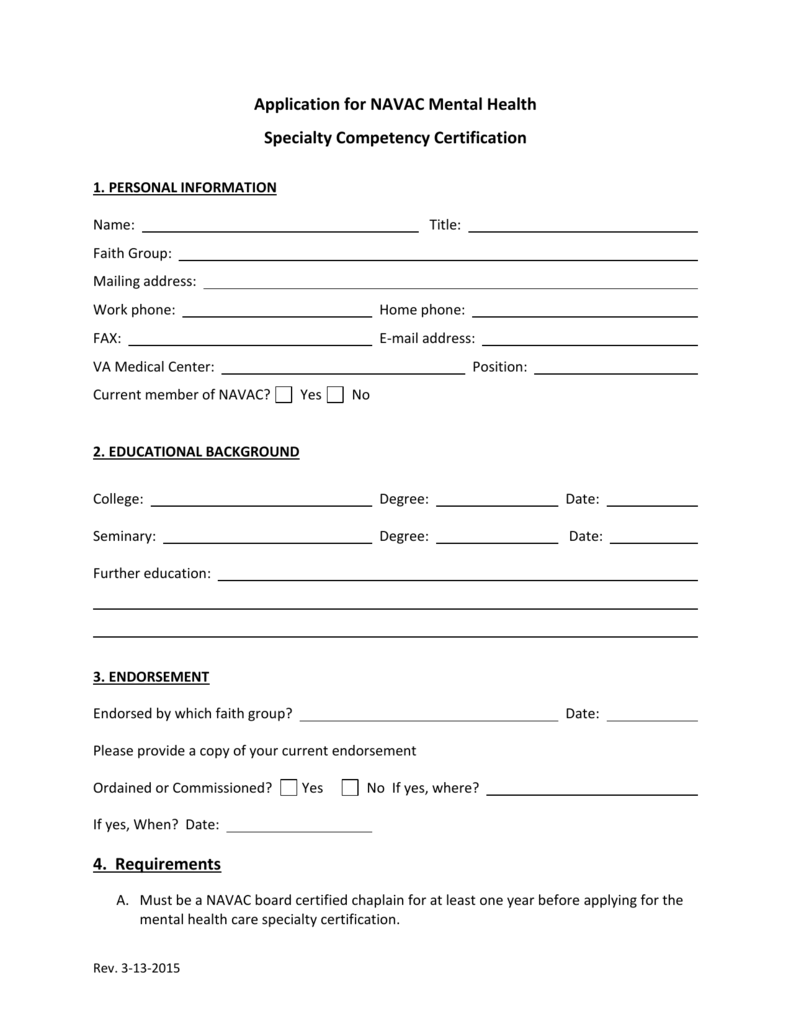 Application For Mental Health Chaplaincy Specialty