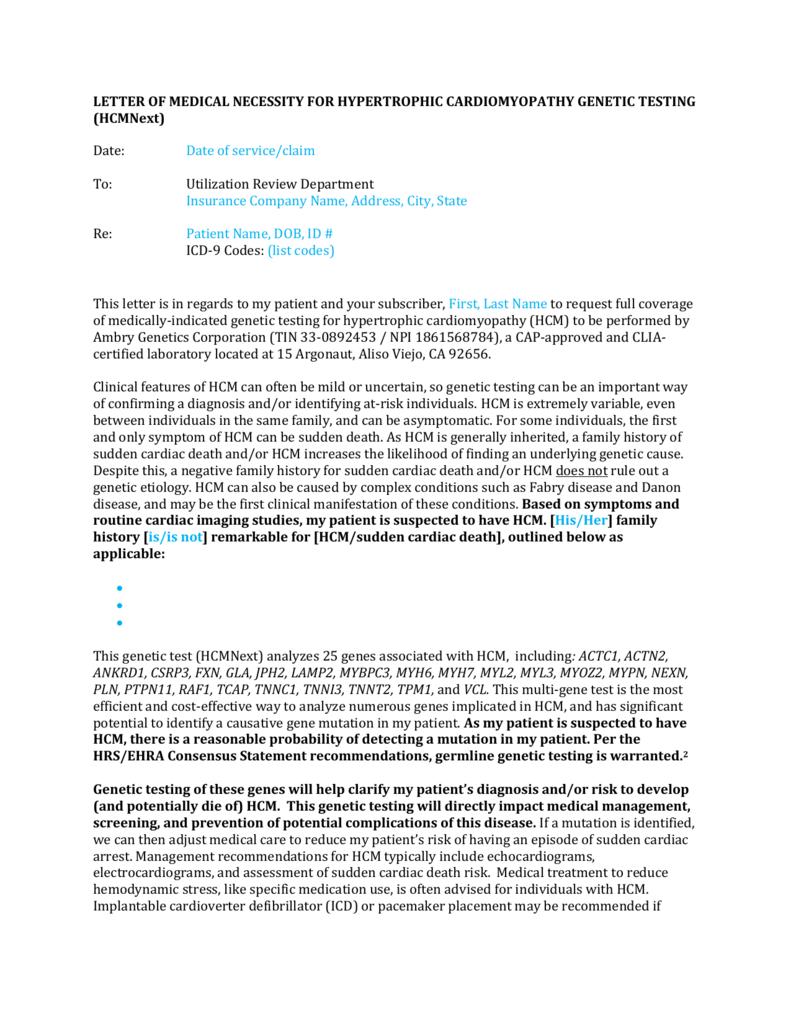LETTER OF MEDICAL NECESSITY FOR HYPERTROPHIC – Letter of Medical Necessity Form