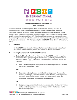 2013 Training Guidelines - The Parent