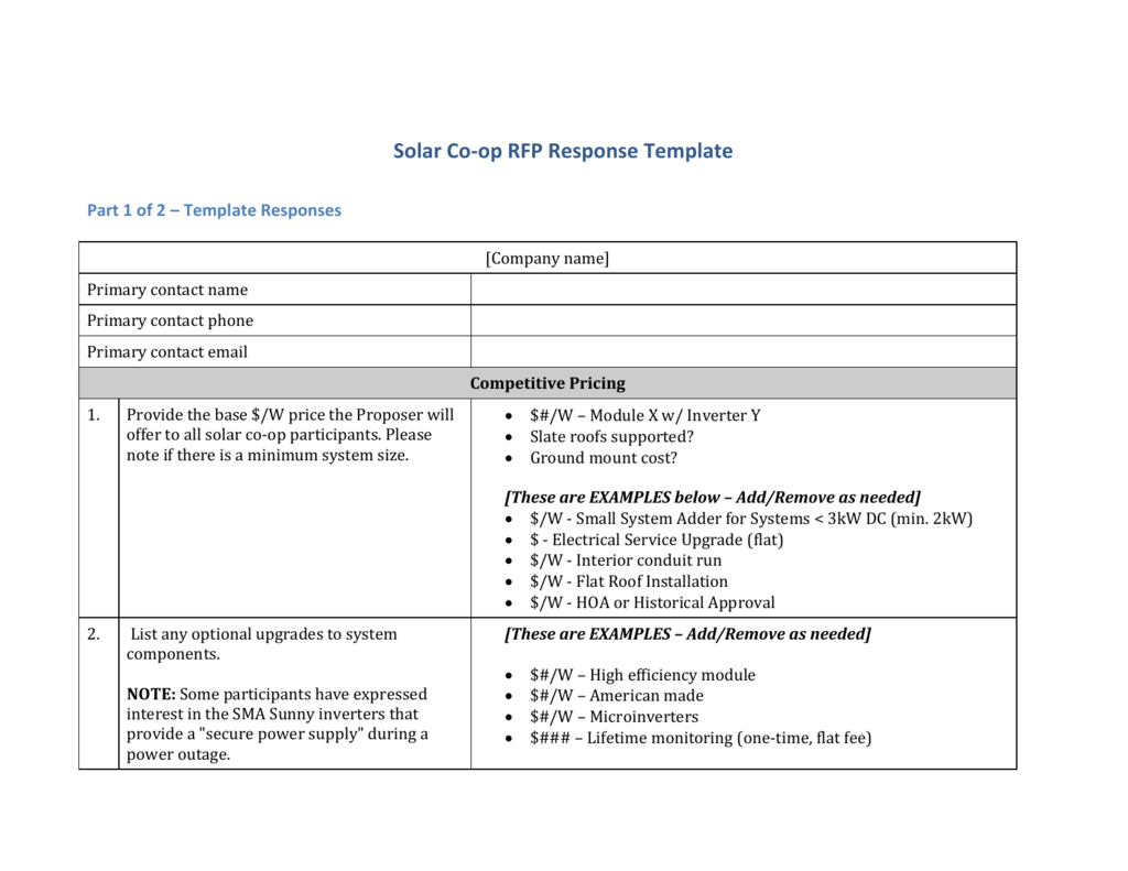 The Rfp Response Template