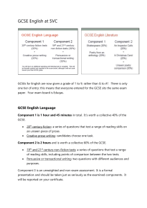 GCSE English at SVC - student overview