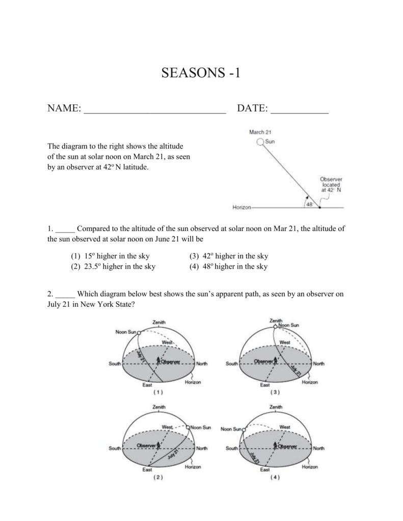 Review Worksheet On Seasons