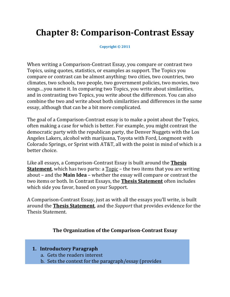 chapter comparison contrast essay