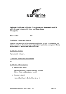 National Certificate in Marina Operations and Services