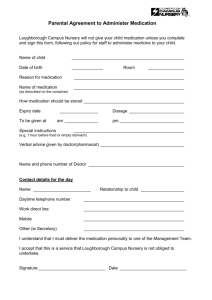 Parental Agreement to Administer Medicaiton form