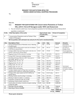 RFQ of Plantaion WDC, Kumarsain