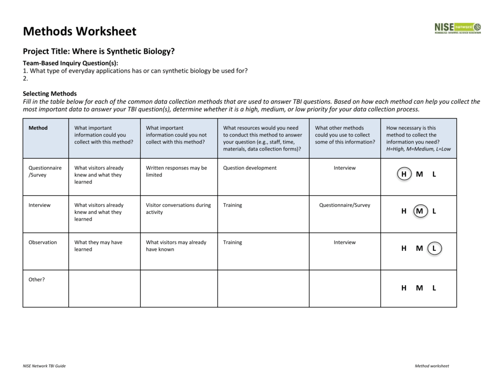 MOS Method Worksheet 1
