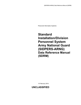 (SIDPERS-ARNG) Data Reference Manual (SDRM)