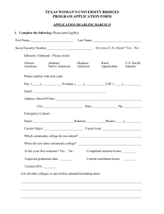 texas woman`s university bridges program application form