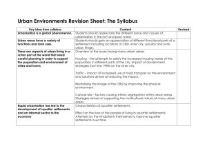 Urban Environments Revision Sheet