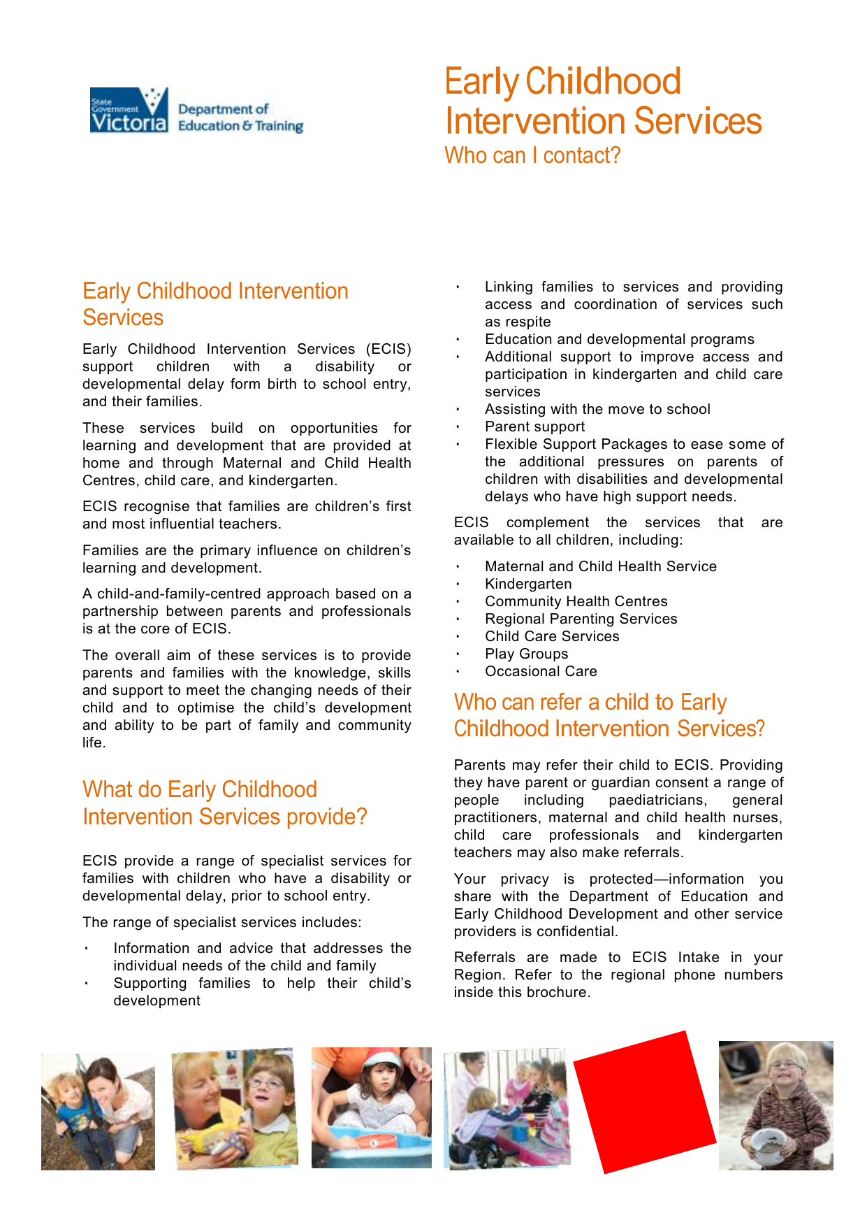 Early Childhood Intervention Services Fact Sheet Docx
