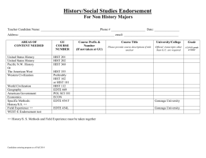 History/Social Studies Endorsement For Non History Majors