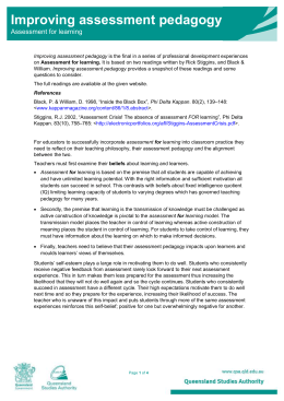Improving assessment pedagogy - Queensland Curriculum and