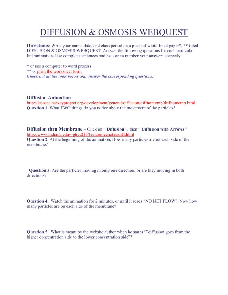 diffusion & osmosis webquest