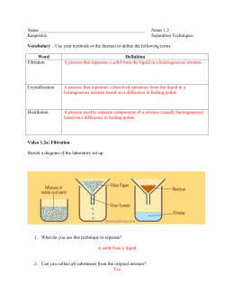 Separation of Mixtures KEY
