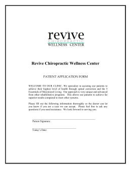 PATIENT APPLICATION FORM - Revive Chiropractic Wellness Center