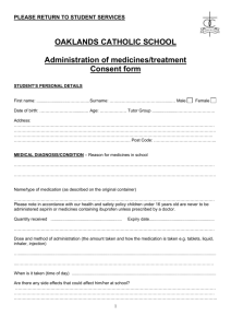 Administration of medicines - Oaklands Catholic School & Sixth Form