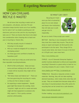 Recycling E-waste - Stacey`s Library Blog