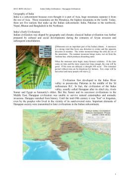 Lesson 01 – The Indus Valley Civilization