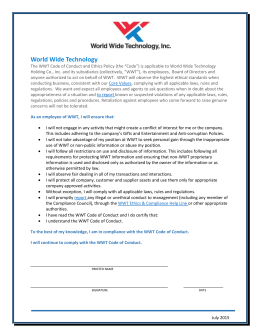 WWT Code of Conduct and Ethics Policy