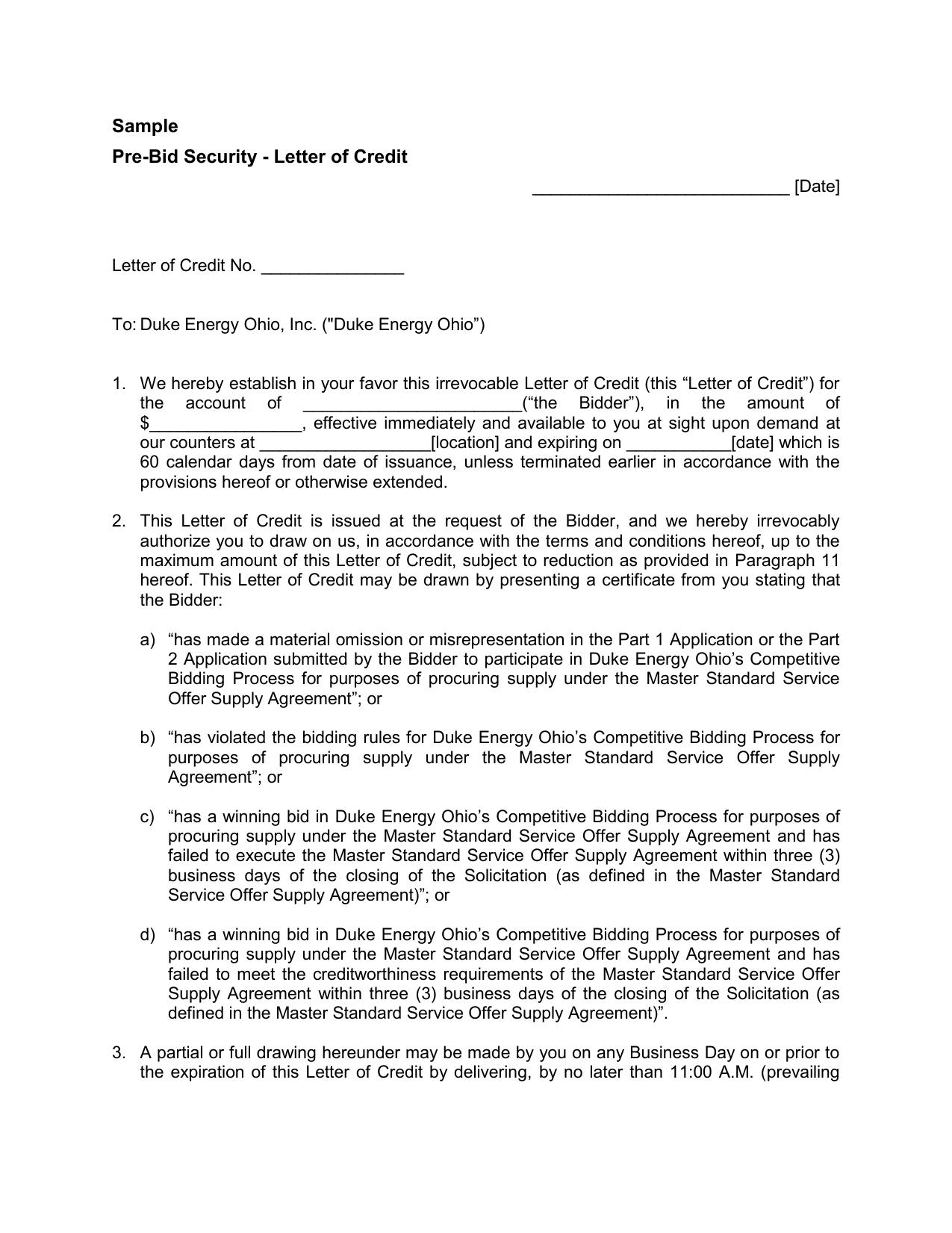 Sample Pre Bid Security Letter Of Credit Date Letter Of Credit No