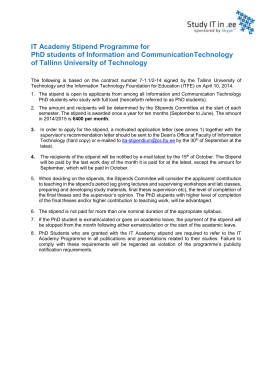 IT Academy Stipend Programme scholarships 2014/2015 for PhD