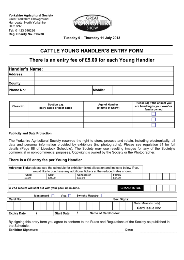 CATTLE YOUNG HANDLER`S ENTRY FORM There is an entry fee