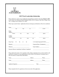 Ward Leadership Scholarship Application - Gold