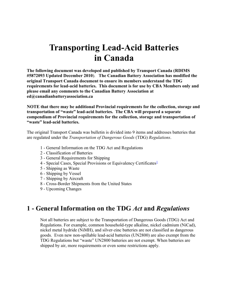 transporting lead acid batteries in canada