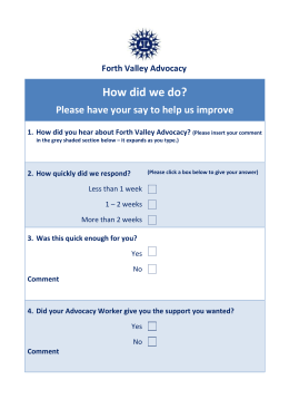 FVA client evaluation - Forth Valley Advocacy