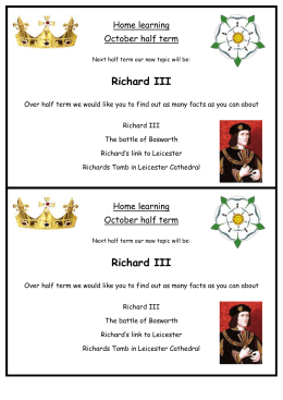 October half term challenge Richard III
