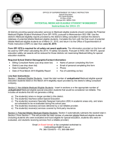 Potential Medicaid Eligible Student Worksheet Instructions for 2014-15