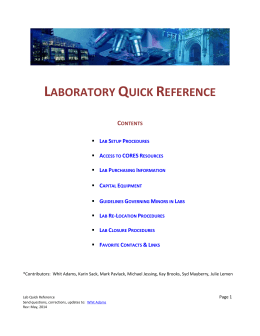Lab Quick Reference - Vanderbilt University Medical Center