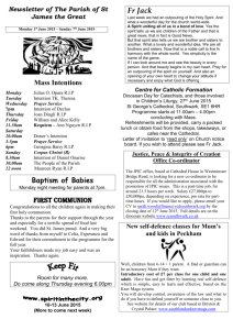 Newsletter of The Parish of St James