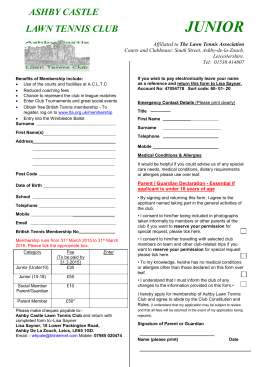 Junior Membership Form Word - Ashby Castle Lawn Tennis Club