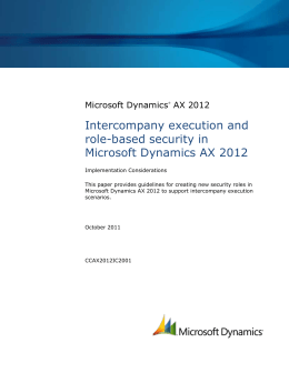 Intercompany execution and role based security in Microsoft
