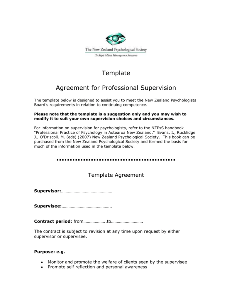 Supervision contract form 101.