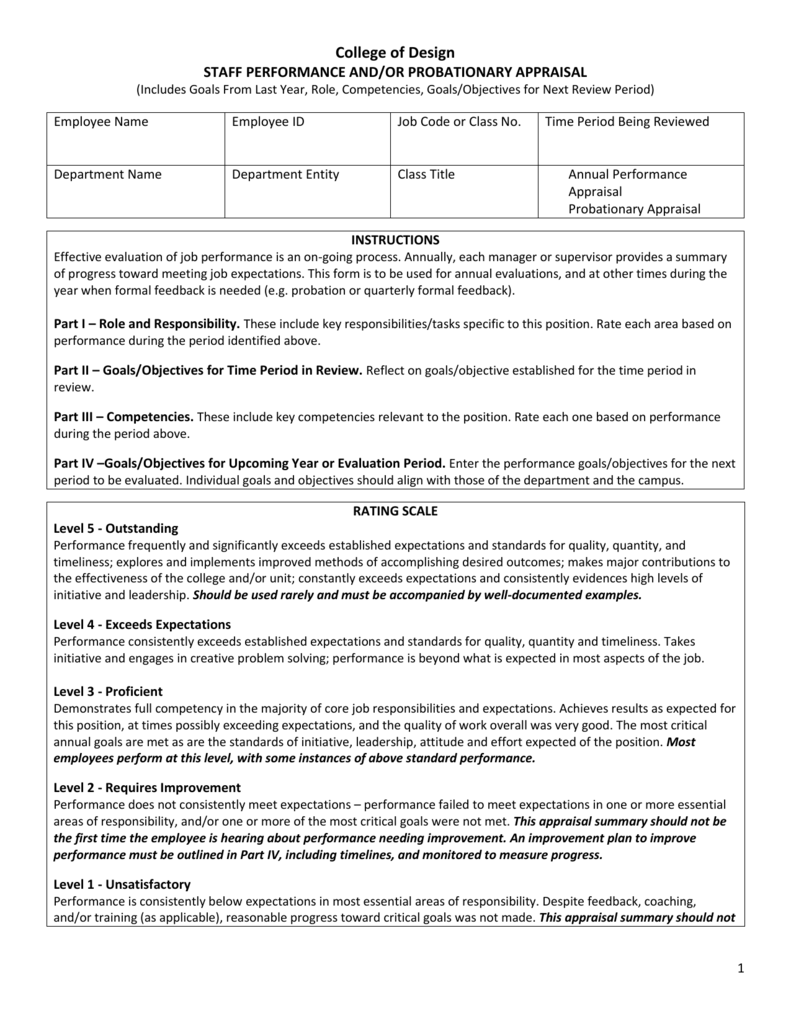 standard performance review form - Paso.evolist.co