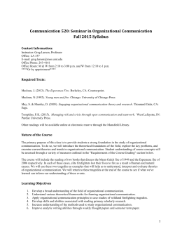 COMX 520- - Seminar in Organizational Communication