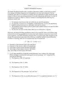 Hardy-Weinberg Practice Problems This first problem should ...
