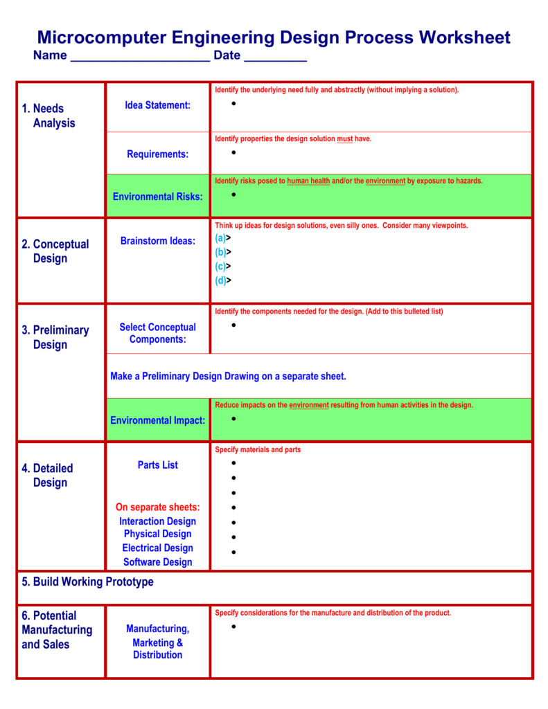 The Engineering Design Process Worksheet Arduino Info