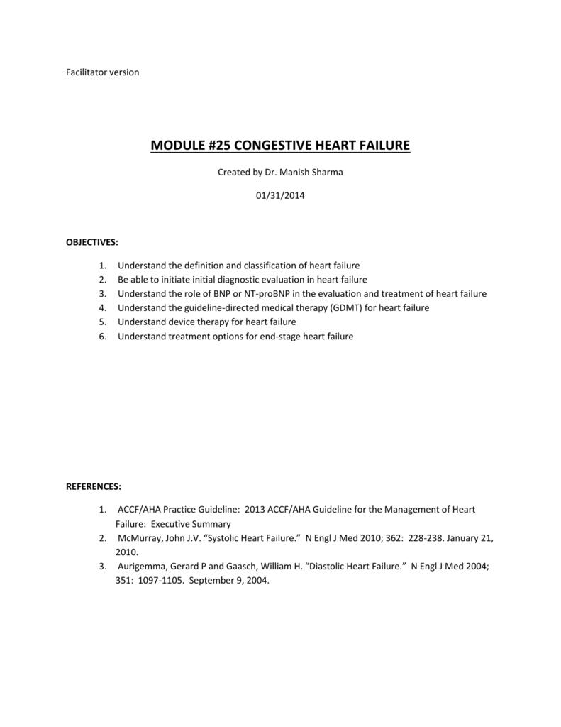 module #25 congestive heart failure