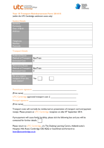 Year 10 Transport Reimbursement Form 2014/15 (within the UTC